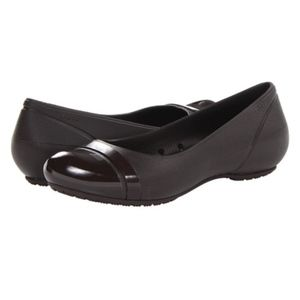 NEW Crocs Shiny Black Round Cap Toe Ballet Flat 8